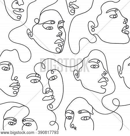 One Line Drawing Abstract Face Seamless Pattern. Modern Minimalism Art, Aesthetic Contour. Continuou