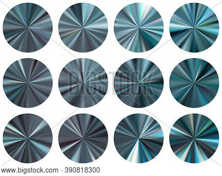 Lead Radial Metallic Gradient Ui Button Elements Vector Set. Polished Bright Swatches. Banner Metal