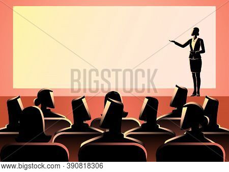 Business Concept Illustration Of Businesswoman Giving A Presentation On Big Screen. Audience, Semina