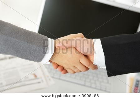 Handshake In The Office
