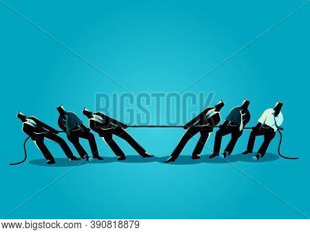 Business Concept Vector Illustration Of Businessmen Teamwork In Tug Of War, Business, Teamwork, Comp