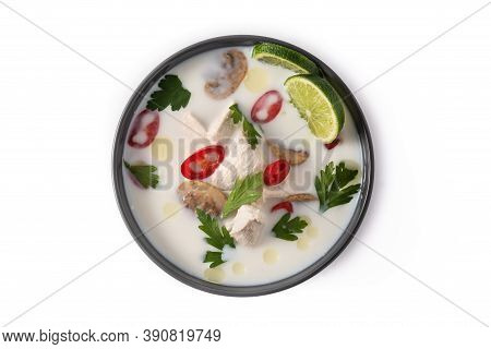 Traditional Thai Food Tom Kha Gai In Bowl Isolated On White Background. Top View