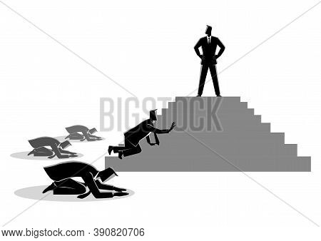 Business Concept Vector Illustration Of Men Worshiping A Charismatic Figure