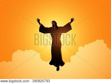 Biblical Silhouette Illustration Of Jesus Christ Raising His Hands, For The Ascension Day Of Jesus C