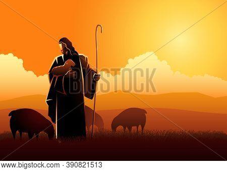 Biblical Vector Illustration Of Jesus As A Shepherd