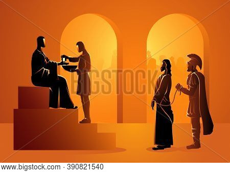 Biblical Vector Illustration Series. Way Of The Cross Or Stations Of The Cross, Pilate Condemns Jesu