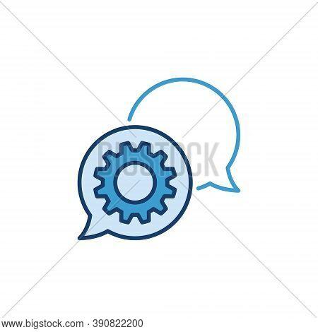 Speech Bubbles With Cog Wheel Vector Concept Icon Or Logo Element