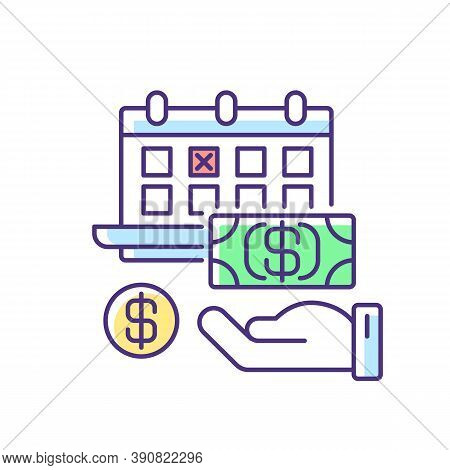 Monthly Payment Rgb Color Icon. Financial Investment. Time On Calendar For Paying Debt. Date For Com