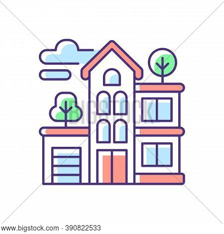 Apartment Building Rgb Color Icon. Condominium Structure. Residential Property. Condo In Neighborhoo