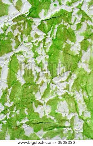 Green Color Semi Painted Wrinkled Paper
