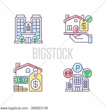 Business Property Rgb Color Icons Set. Real Estate. Realty For Sale. Skyscraper Building. Condominiu