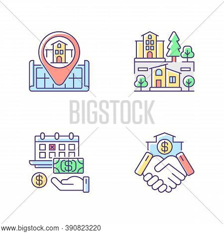 Commercial Deal For Realty Rgb Color Icons Set. Real Estate. House Location On Map. Home Position. S