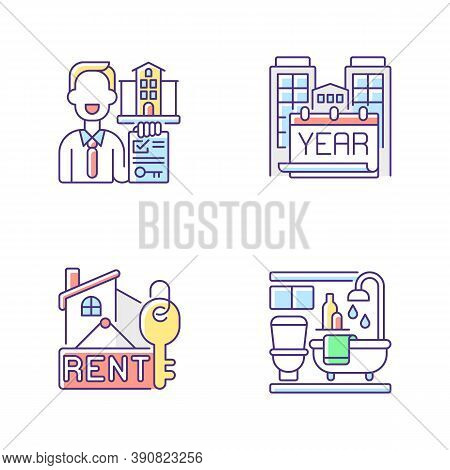 Realtor Agency Rgb Color Icons Set. Year Built. Rental Price For Home. Bath Room In House. Residenti