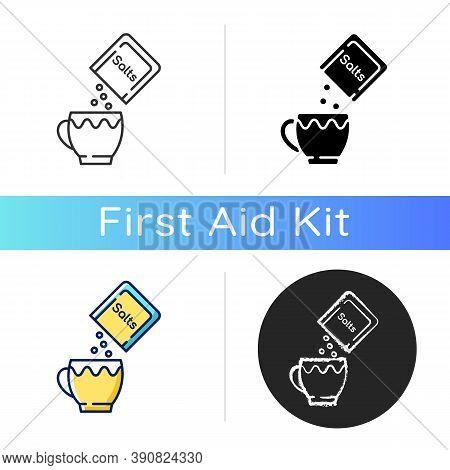 Oral Rehydration Salts Icon. Medical Salts For Diarrhea Treatment. Dehydration Remedy. Powder Pack F