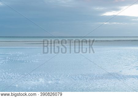 View Of The Salt Lake, Natural Landscape Background.