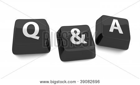 Q&a Written In White On Black Computer Keys. 3D Illustration. Isolated Background.