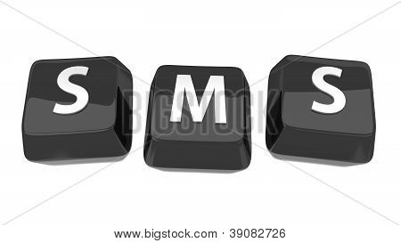 Sms Written In White On Black Computer Keys. 3D Illustration. Isolated Background.
