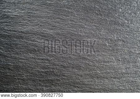 Gray Textured Slate Surface Background. Slate Rock. Flat Lay. Copy Space.