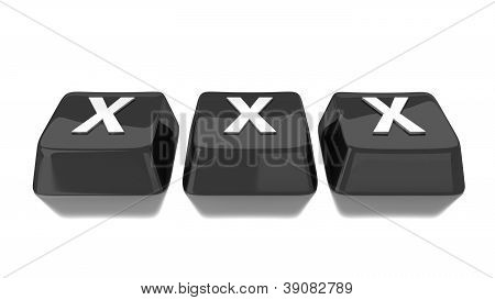 Xxx Written In White On Black Computer Keys. 3D Illustration. Isolated Background.