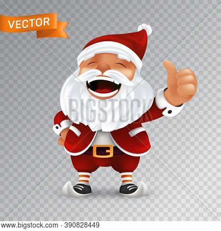 Funny Cartoon Little Santa Claus Mascot Without Eyeglasses In A Red Hat With Thumbs Up. Vector Illus