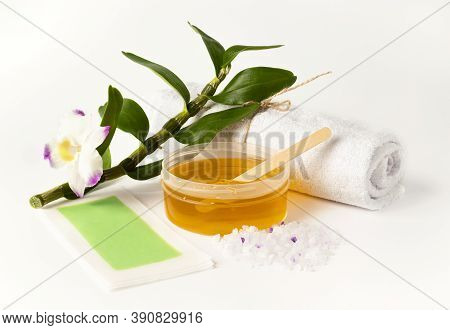 Wax Or Sugar Depilation Paste. Towel, Wax Strip, Sea Salt Scrub And Wooden Spatula. Hair Removal Or