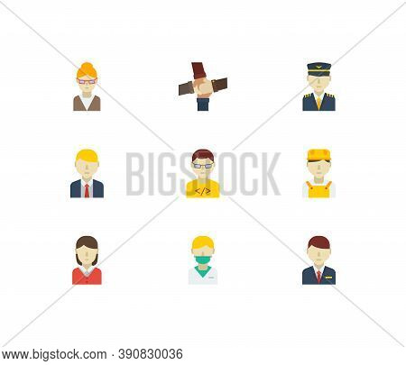 Occupation Icons Set. Teamwork And Occupation Icons With Manager, Teacher And White Worker. Set Of C
