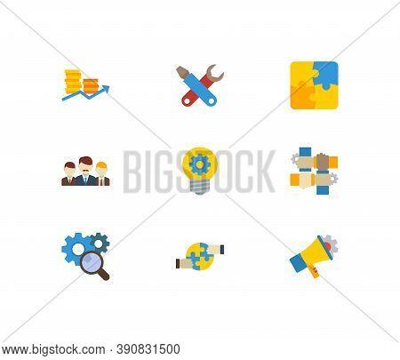 Technology Partnership Icons Set. Marketing And Technology Partnership Icons With Technical Developm