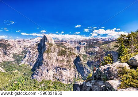 Yosemite Valley With Half Dome During A Sunny Day, View From Glacier Point, Yosemite National Park,