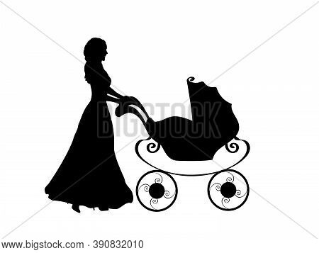 Silhouette Mother Pushing Baby Stroller. Illustration Graphics Icon Vector