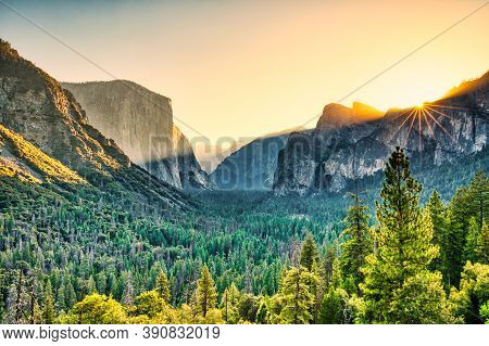 Illuminated Yosemite Valley View From The Tunnel Entrance To The Valley At Sunrise, Yosemite Nationa