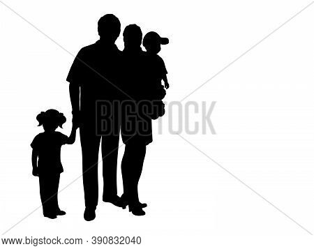 Silhouette Family With Two Children. Illustration Graphics Icon Vector
