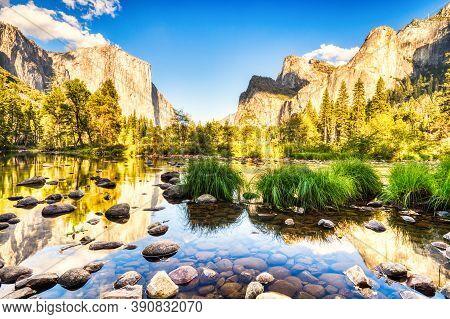 Illuminated Yosemite Valley With Reflection At Sunset, Yosemite National Park, California