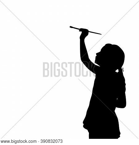 Silhouette Little Girl With Brush Draws Blank Space On White Background. Illustration Graphics Icon