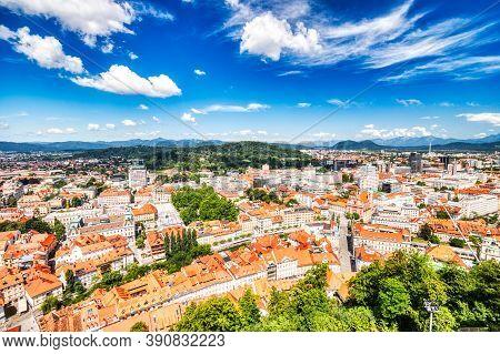 Ljubljana City Center Aerial View During A Sunny Day, Slovenia