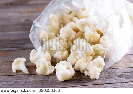 Frozen White Cauliflower And Healthy Food Vegetable Background, Cabbage.