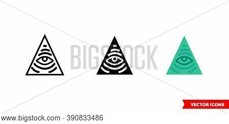 Illuminati Icon Of 3 Types Color, Black And White, Outline. Isolated Vector Sign Symbol.