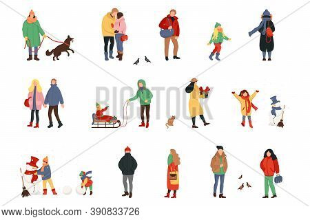 Set Of Cartoon People In Winter Clothes. Including Various Lifestyles And Ages. Crowd Of Tiny People