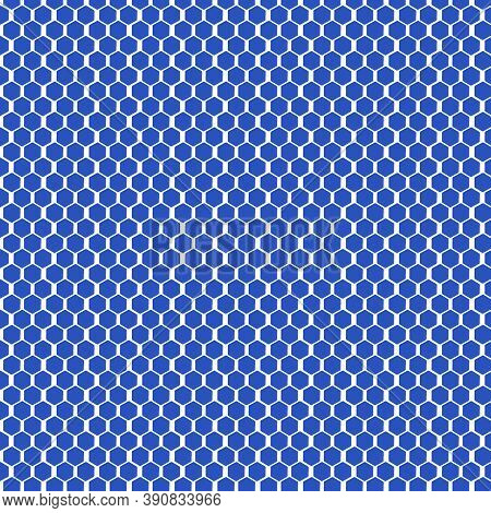 Cerulean Blue And White Honeycomb Pattern In 12x12 Design Element For Backgrounds And Projects.
