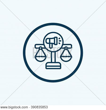 Justice Icon Isolated On White Background From Public Services Collection. Justice Icon Trendy And M