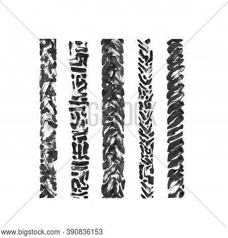 Ink Painted Grunge Dirty Borders Collection. Isolated Hand Drawn Illustration, Black Texture Brush S