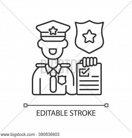 Law Enforcement Linear Icon. Police Officer. Cop. Sheriff. Maintaining Public Order And Safety. Thin