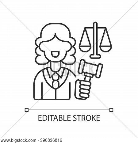 Justice Sector Linear Icon. Judiciary. Legitimacy. Court. Judicial Reform. Practising Lawyers. Thin