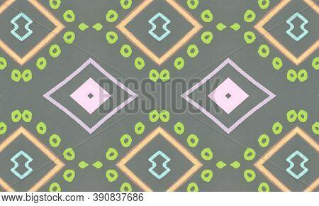 Colorful Tribal Ornament. Gray Mexican Ethnic Wallpaper. Hand Drawn Native Border. Geometric Traditi