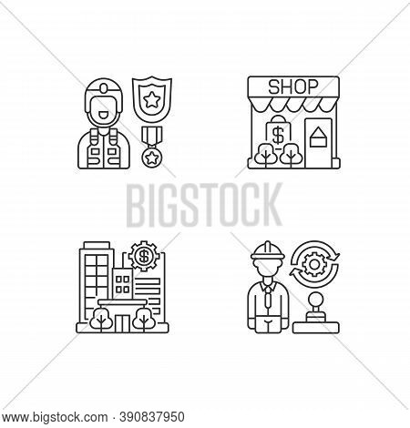 Vital Services Linear Icons Set. Defence Industry. Small Business. Banks And Financial Institutions.