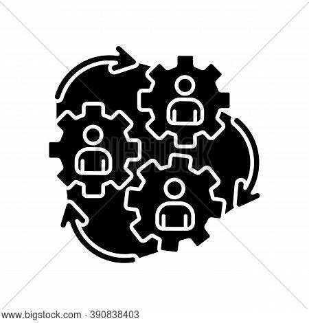 Human Synergy Black Glyph Icon. Corporate Workforce. Collaboration Of Company Employee. Business Coo