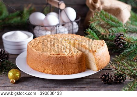 Homemade Round Sponge Cake Or Chiffon Cake On White Plate So Soft And Delicious With Ingredients: Eg