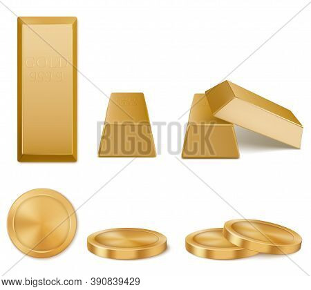 Golden Bars, Yellow Metal Ingots And Coins Isolated On White Background. Concept Of Money Investment