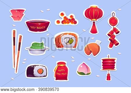 Food And Decoration For Chinese New Year. Stickers With Red Lantern, Bells, Sushi And Fortune Cookie