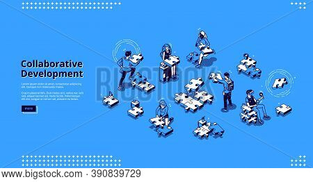 Collaborative Development Banner. Business Concept Of Teamwork And Partnership Strategy. Vector Land