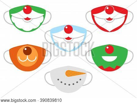 Protection Individual Masks Mouth Of Santa Claus, Deer, Snowman And Elf. Face Masks For Christmas, N